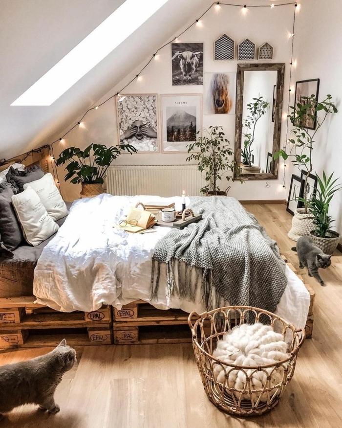 tumblr zimmer deko, jugednzimmer einrichtung in jungle stil, lichterketten