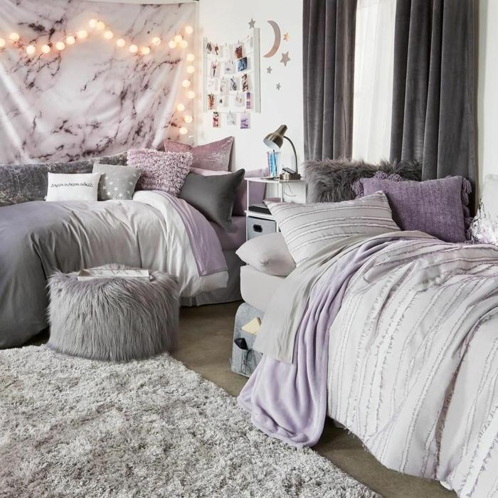 tumblr zimmer deko, zimmerdeko in grau und lila, jugendzimmer für zwei