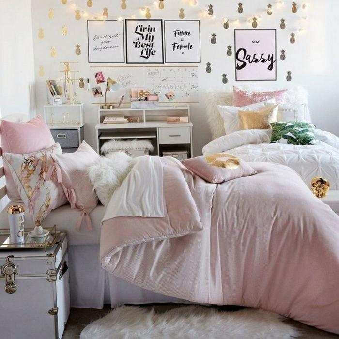 tumblr zimmer deko, mädchenzimmer gestalten, zimmergestaltung in weiß, rosa und gold