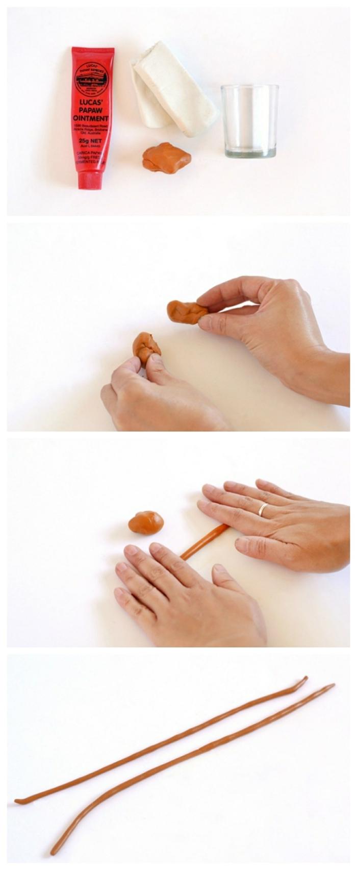 Collagen Anleitung zu basteln von kleiner Vase aus Ton, Hand formt Schnüre aus Ton, Wohnzimmer Deko selber machen