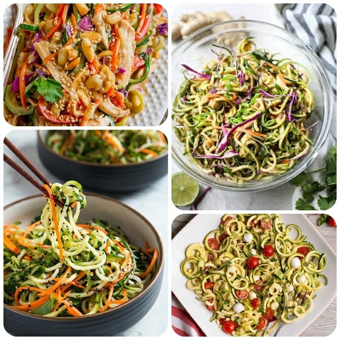 zucchini spaghetti rezept, gesund essen, low carb gerichte zum abnehmen, abendessen ideen