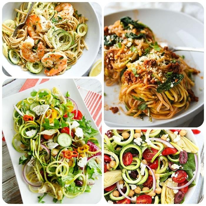 zucchini spaghetti rezept, low carb gerichte, garnelen miz zoodles, gesunder salat mit gemüsenudeln