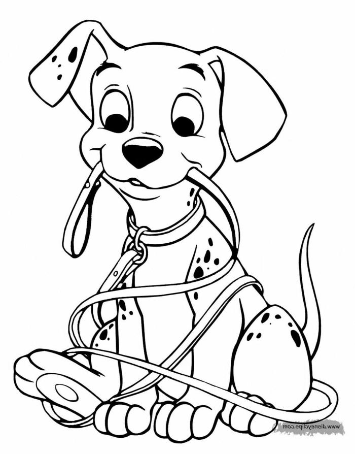 kleiner Hund von dem Disney FIlm 101 Dalmatiner, hält Leine im Mund, Ausmalbilder für Mädchen,