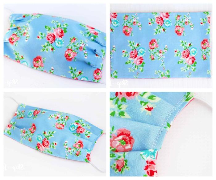 Schutzmasken gegen Viren, blauer Stoff mit roten und blauen Blumen, Gesichtsmaske selber machen