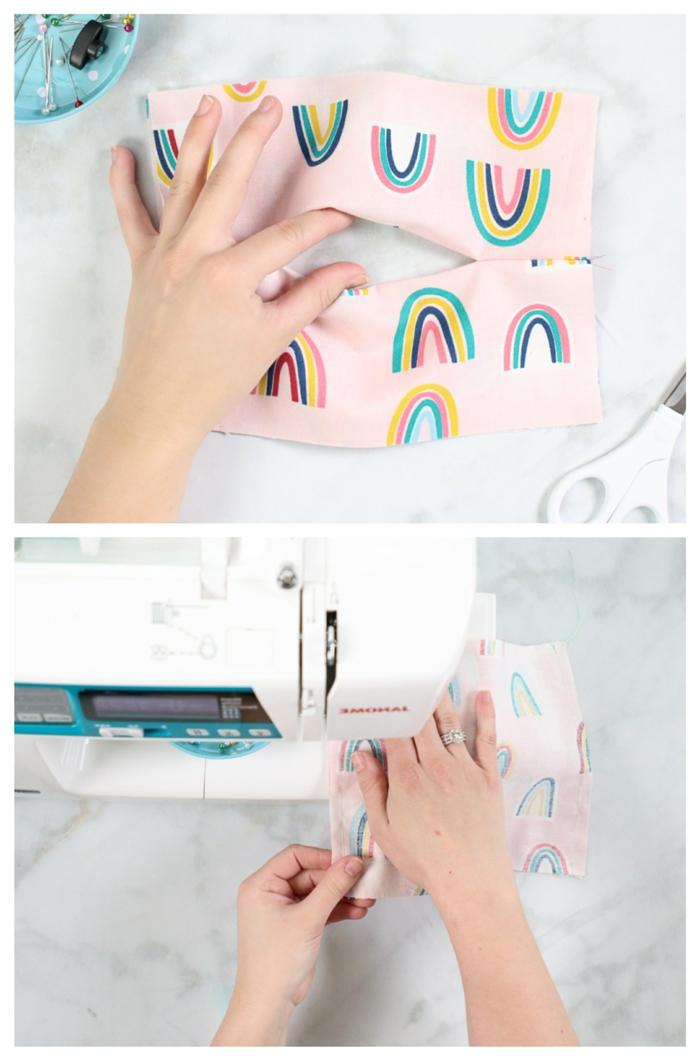 Schutzmaske gegen Viren selber machen, Person näht Maske auf einer Nähmaschine