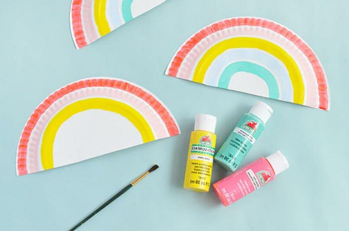 gelbe pinke und blaue Farbe zum malen, Basteln mit Papptellern, Muttertag basteln kinder pinterest