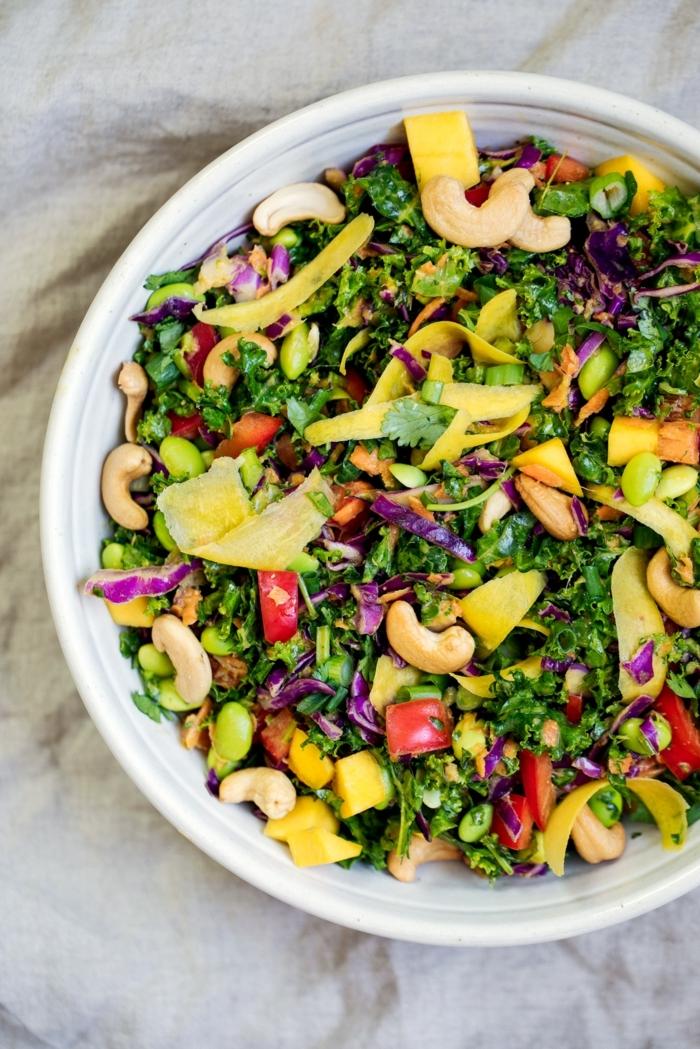 salat rezepte, die besten ideen, partysalat mit cashew nüssen, gesundes abendessen zum abenhmen