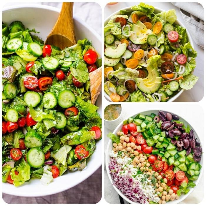 salat rezepte ideen, sommersalat mit cherry tomaten, gurken und salatblättern, healthy bowls