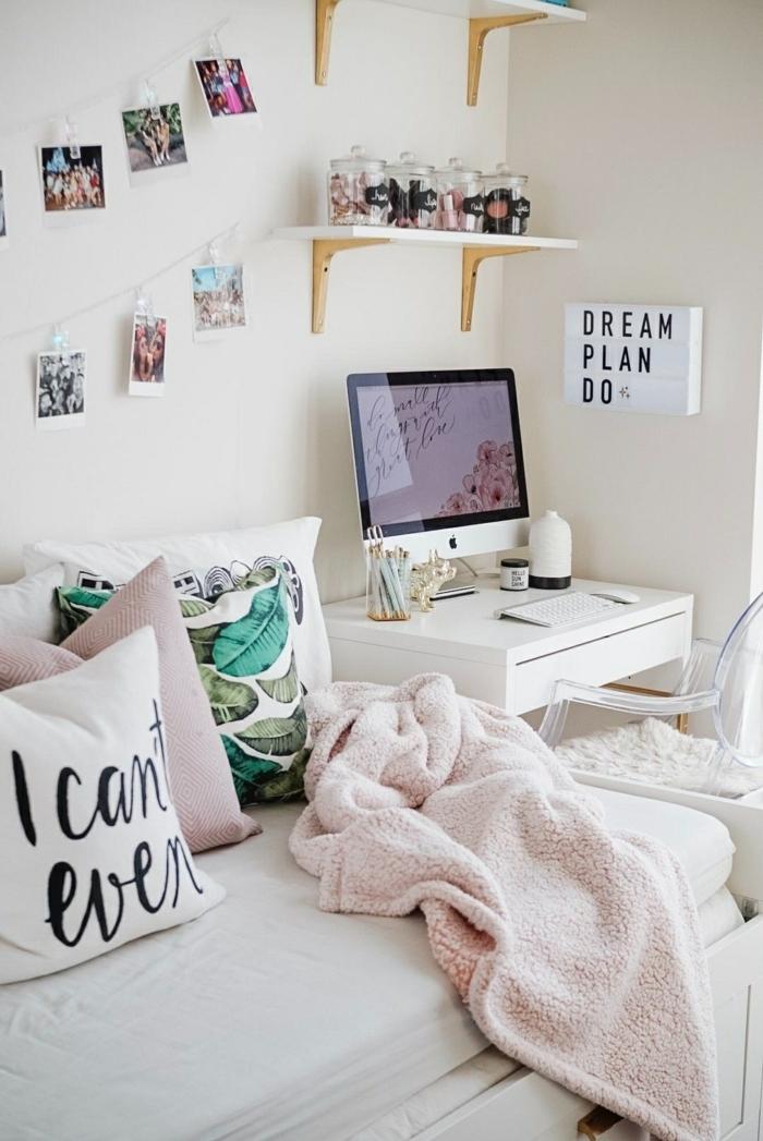 teenager zimmer, kleiner raum, zimmergestaltung in weiß, mädchenzimmer gestalten