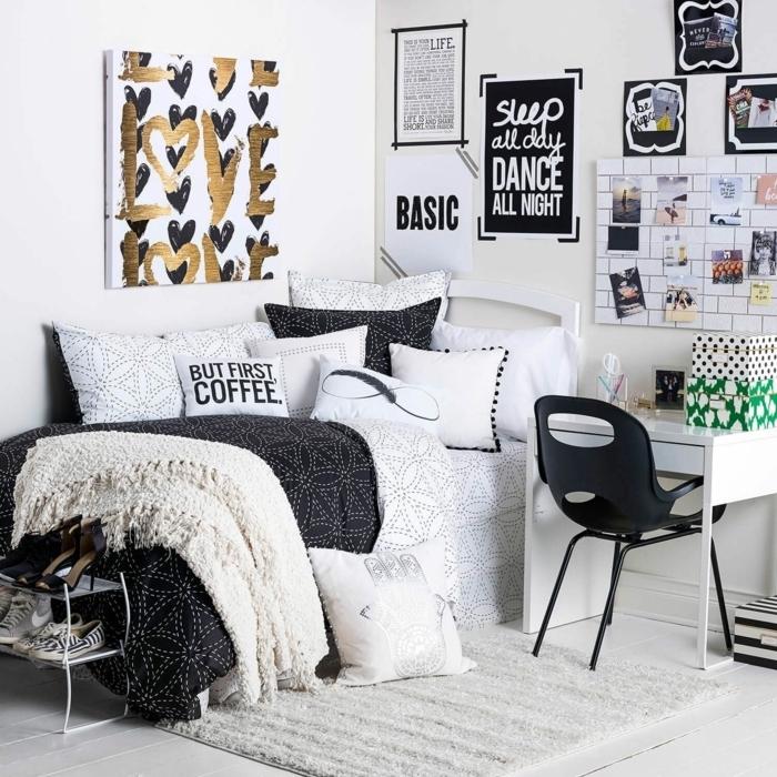 teenager zimmer kleiner raum, jugendzimmer in weiß und schwarz, wanddeko mit bildern