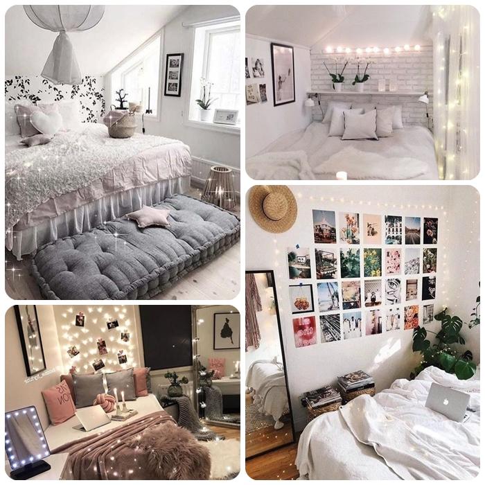 teenager zimmer kleiner raum, zimmerdeko ideen, jugendzimmer deko, fotowand mt bildern