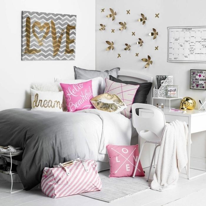 kleine jugendzimmer optimal einrichten, mädchenzimmer gestalten, goldene wandsticker, 3d sticker