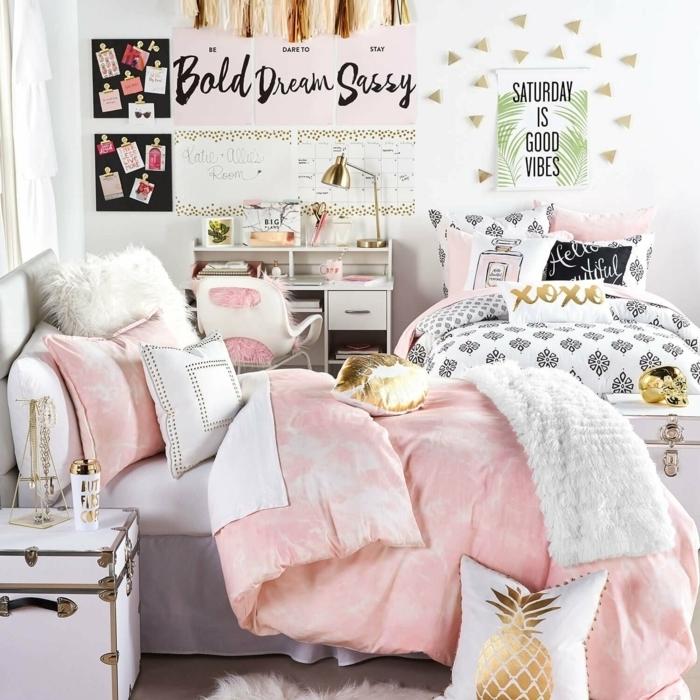 kleine jugendzimmer optimal einrichten, teenager zimmer gestaltung in weiß, rose und gold