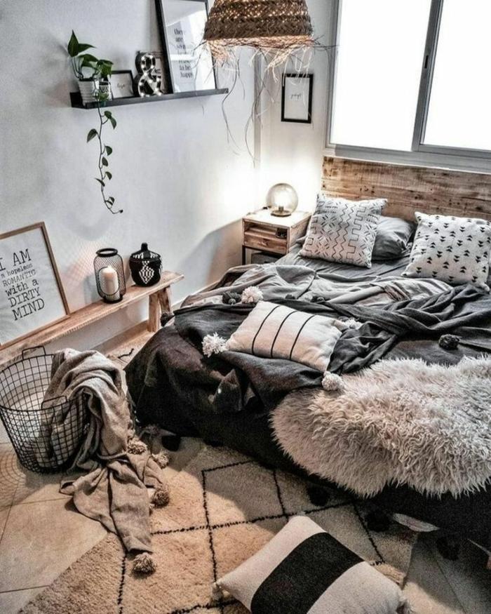 pinterest zimmer, zimmerdeko ideen, jugendzimmergestaltung in grau und weiß, bett aus europaletten