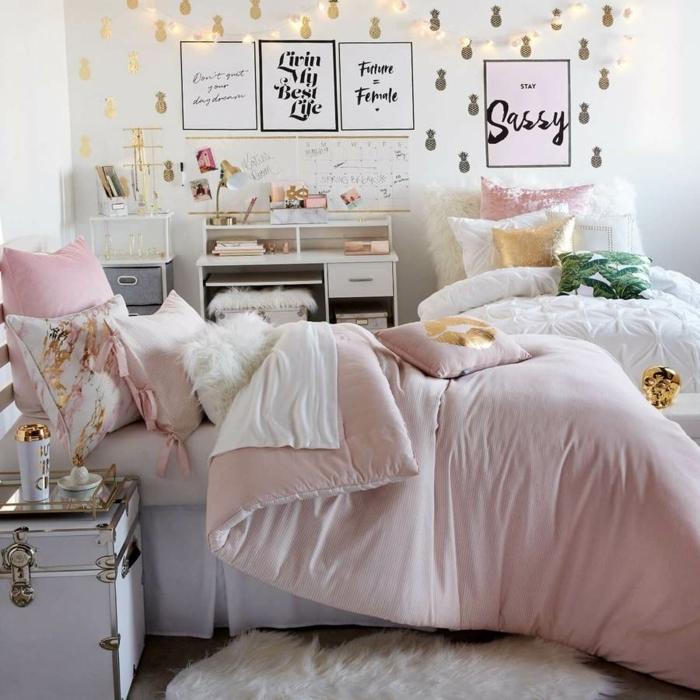 pinterest zimmer, zimmergestaltung in weiß und hellrosa, mädchenzimmer dekoreiren