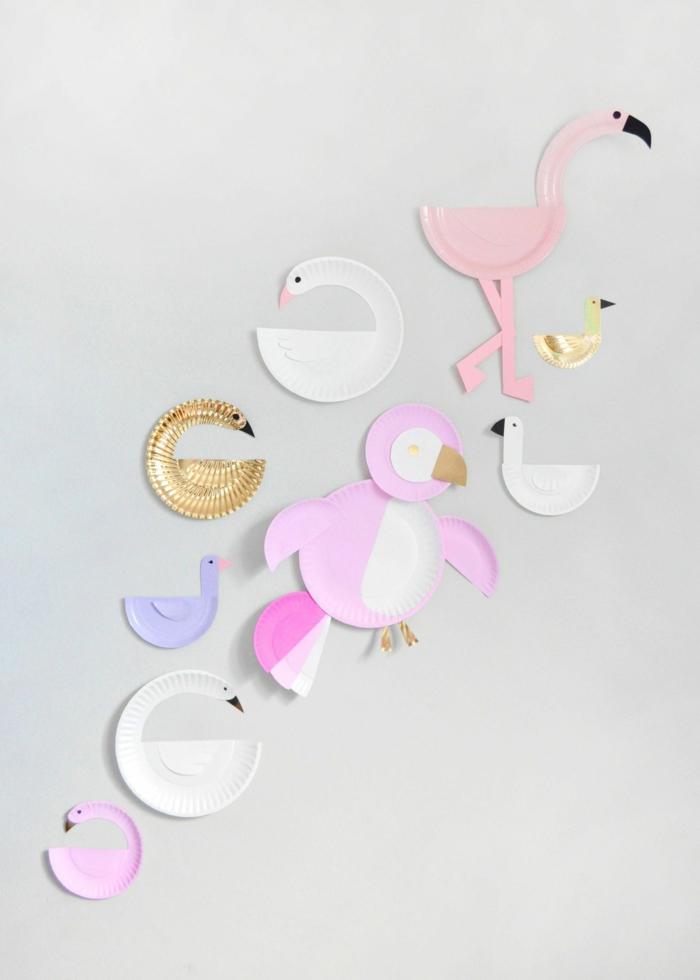 Basteln mit Papptellern, verschiedene gebastelte Vögel, Flamingos und Schwäne, Tiere aus Papptellern