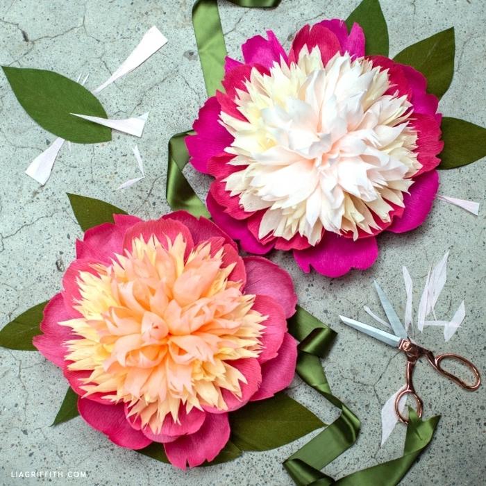 riesenblumen aus krepppapier basteln, große blmumen aus papier selber machen