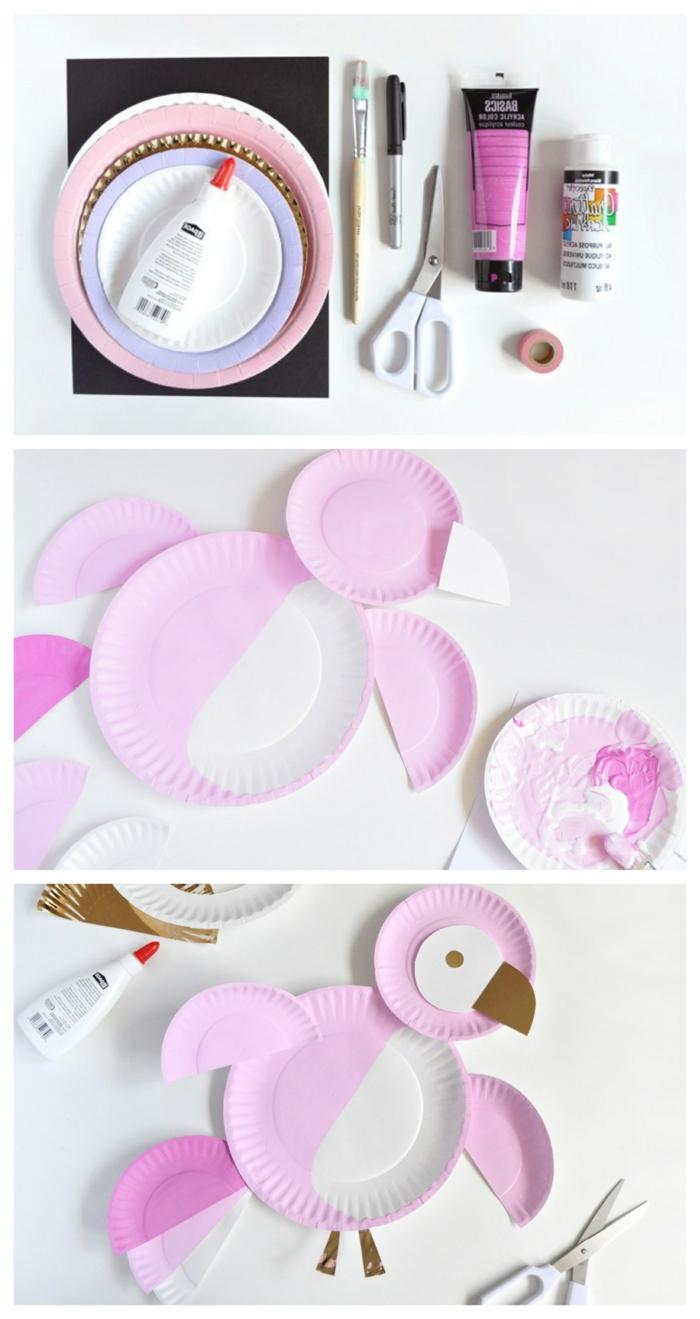 Bastelbedarf und DIY Anleitung zum basteln von pinkem Pengui, Tiere aus Pappteller