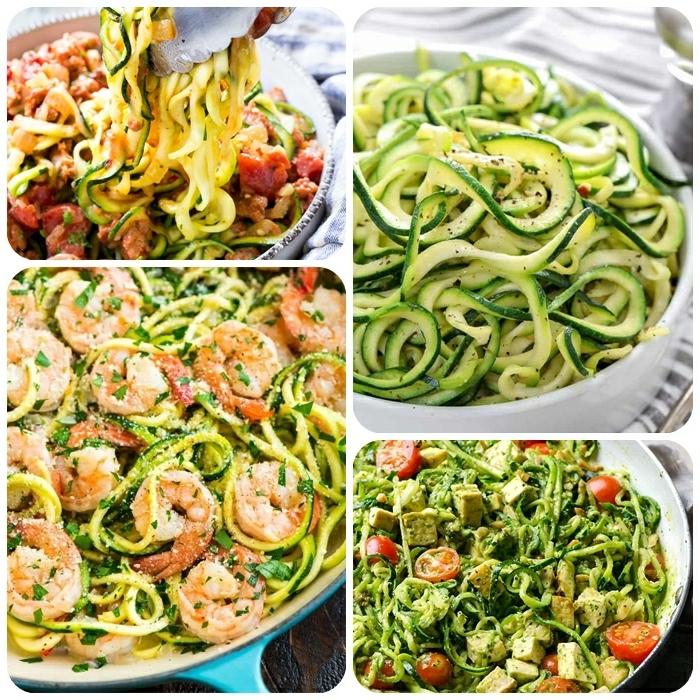 zoodles mit garnelen und parmesan, leckere gerichte mit zucchini, pesto salat