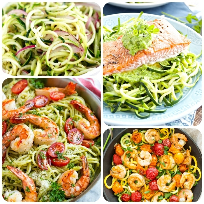 zucchini spaghetti mit garnelen, abendessen rezepte, lachs mit zudeeln