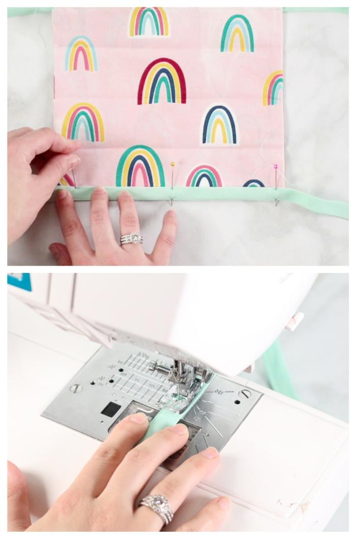Gesichtsmaske auf Nähmaschine selbst machen, DIY Anleitung, pinker Stoff mit Regenbogen, Coronavirus Atemschutzmaske