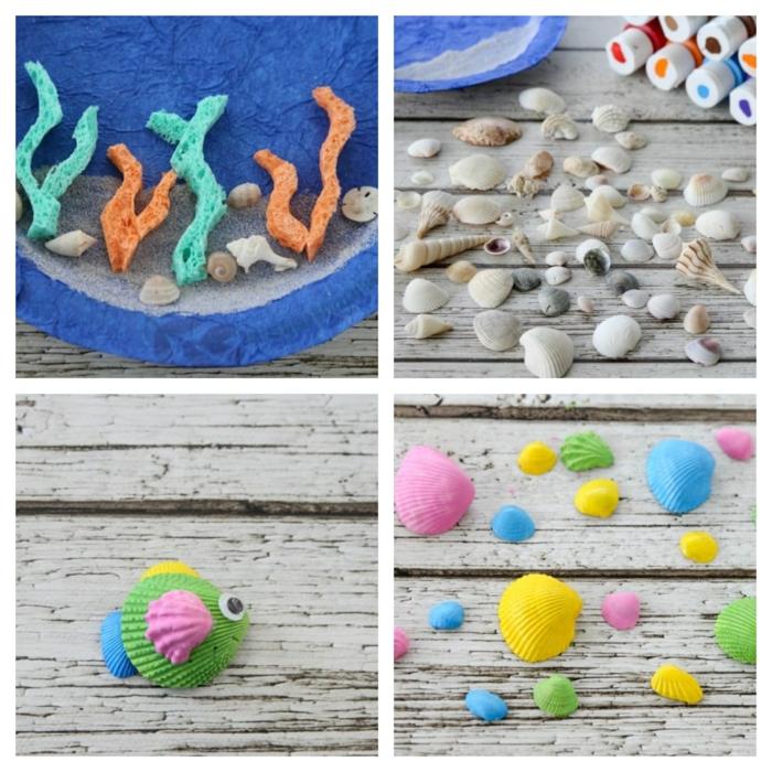 viele weiße Muscheln bemalt in bunten Farben und als Fische dekoriert, Fische basteln mit Kindern
