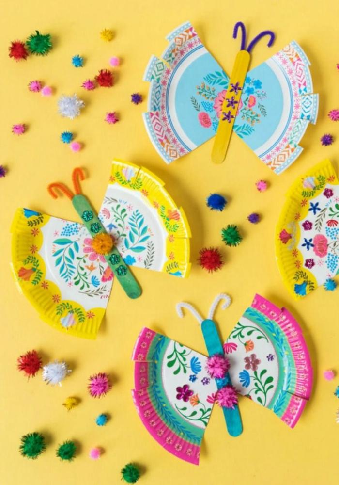 Schmetterlinge basteln mit Kindern aus bunten Papptellern, Kreative Bastelideen für Kinder