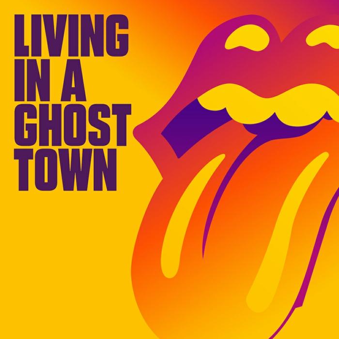 poster zu dem neuen coronavirus song der britischen band the rolling stones living in a ghost town, ein mund einer frau und zung