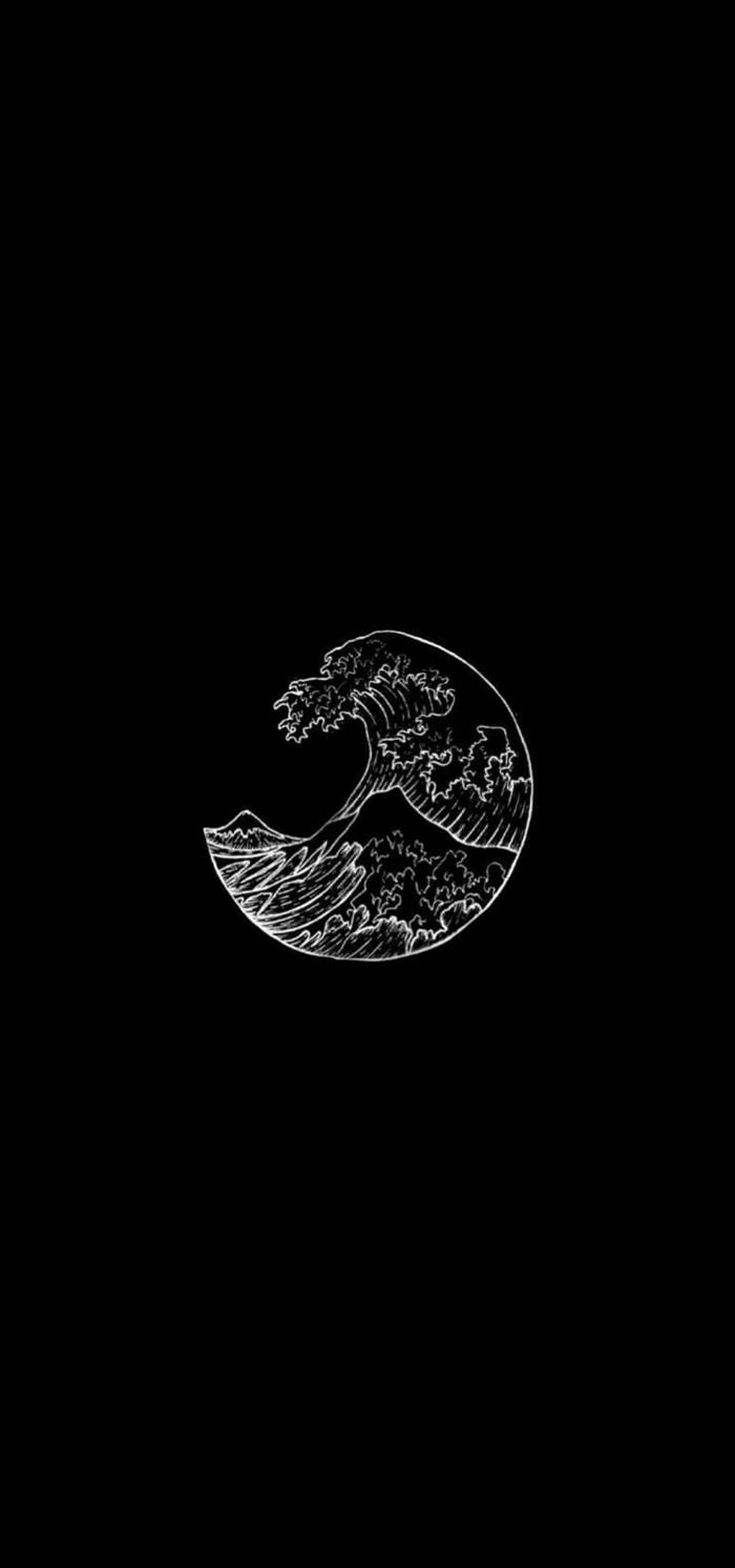schwarzes Hintergrundbild für Handys mit einer weißen Zeichnung vom Mond mit Wellen, Aesthetic Backgrounds