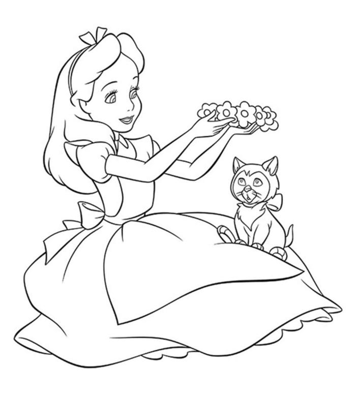 Bilder zum ausmalen, Alice im Wunderland, sitzt und hält einen Blumenkranz, kleine Katze sitzt in Ihrem Schoss, Malvorlagen kostenlos