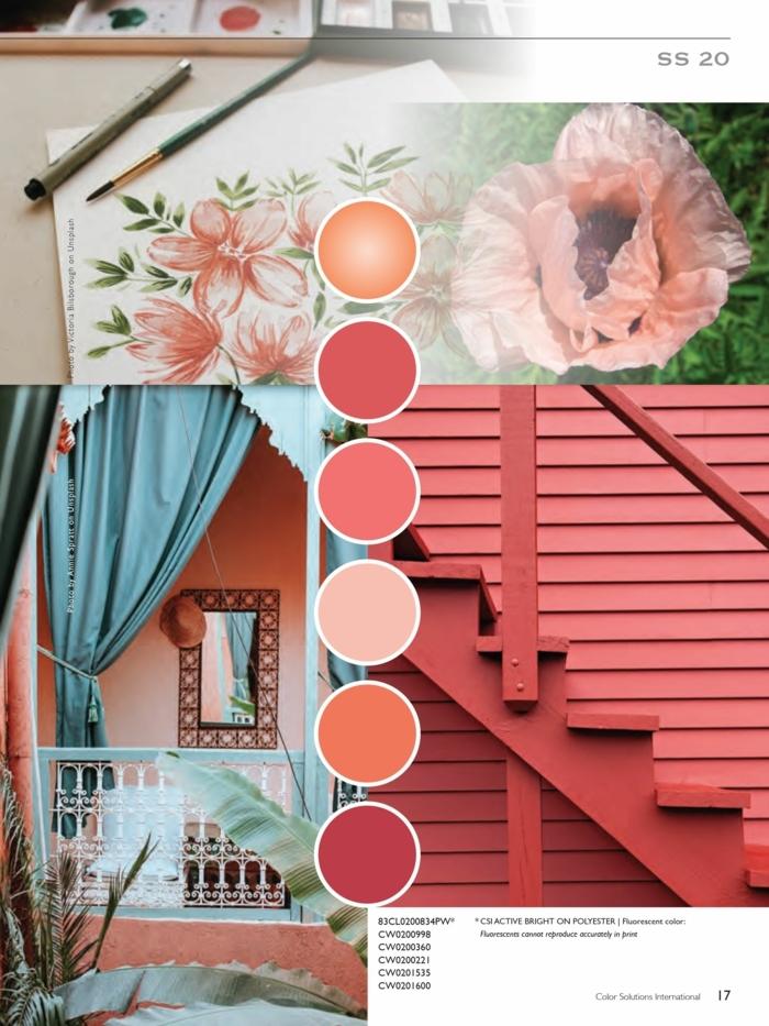 Angesagte Farben für Frühlingsdeko 2020, Koralltöne Ideen, Haus mit Treppen, blaue Gardine