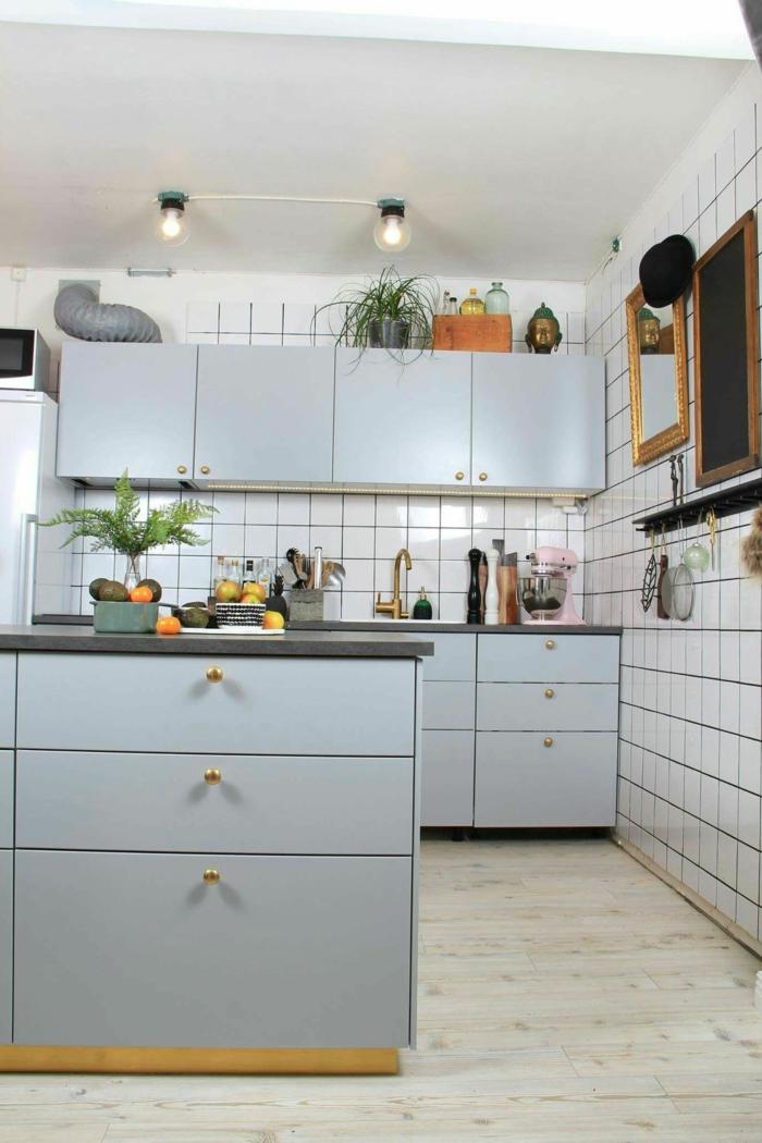 Küche modern weiss, graue Küchenschränke Ikea Ideen, grüne Pflanzen auf einem Schrank, Spiegel an die Wand