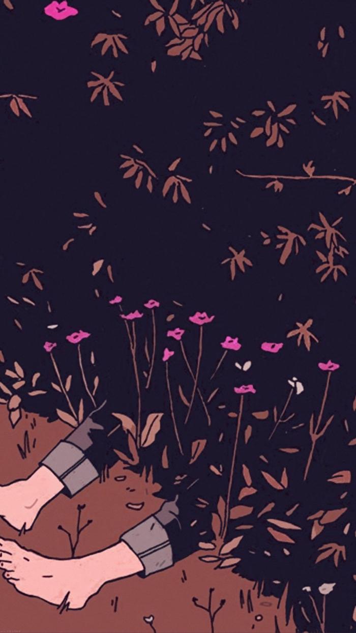Tumblr aesthetic backgrounds, Anime Bild von Füßen in einem Busch, kleine pinke Blumen