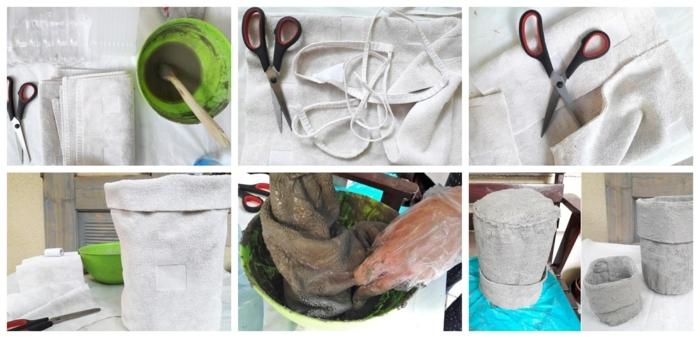 Blumentopf aus Beton und Handtuch selber machen, Schritt für Schritt Anleitung, grüner Eimer, Beton Blumentopf