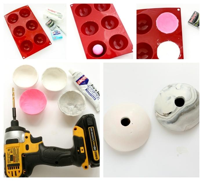 Schritt für Schritt DIY Anleitung zu Vase aus Ton, Wohnzimmer Deko selber machen, Bohrmaschine und runde Form für Kugeln