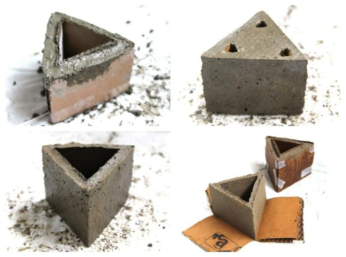 Beton Blumentopf, DIY Anleitung für Pflanzenbehälter in Form eines Dreiecks, Gefäße aus Beton selber machen,