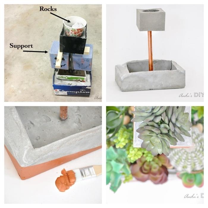 Collage mit DIY Anleitung zum anfertigen vom Pfanzer, Betonkübel für Pflanzen mit Kupfer Stange, viele grüne Kakteen,