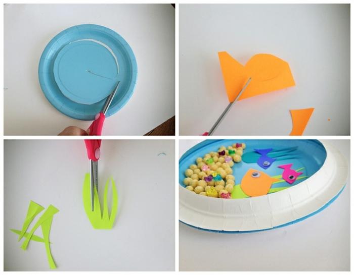 Unterwasserwelt basteln mit Fischen und Meerespflanzen, Collage mir DIY Anleitung