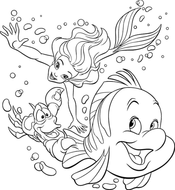 Arielle die kleine Meerjungfrau schwimmt im Wasser mit Fabius und Sebastian, Ausmalbilder disney