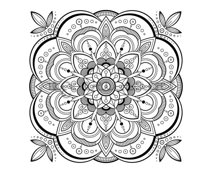 Bilder zum ausmalen, Bild mit Blumenmotiven, Mandala zum ausdrucken, geometrisches Schaubild