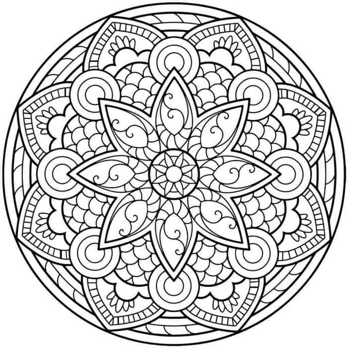 einfache Mandalas für Kinder, verschiedene Motive, Blumen in der Mitte, figurales Schaubild