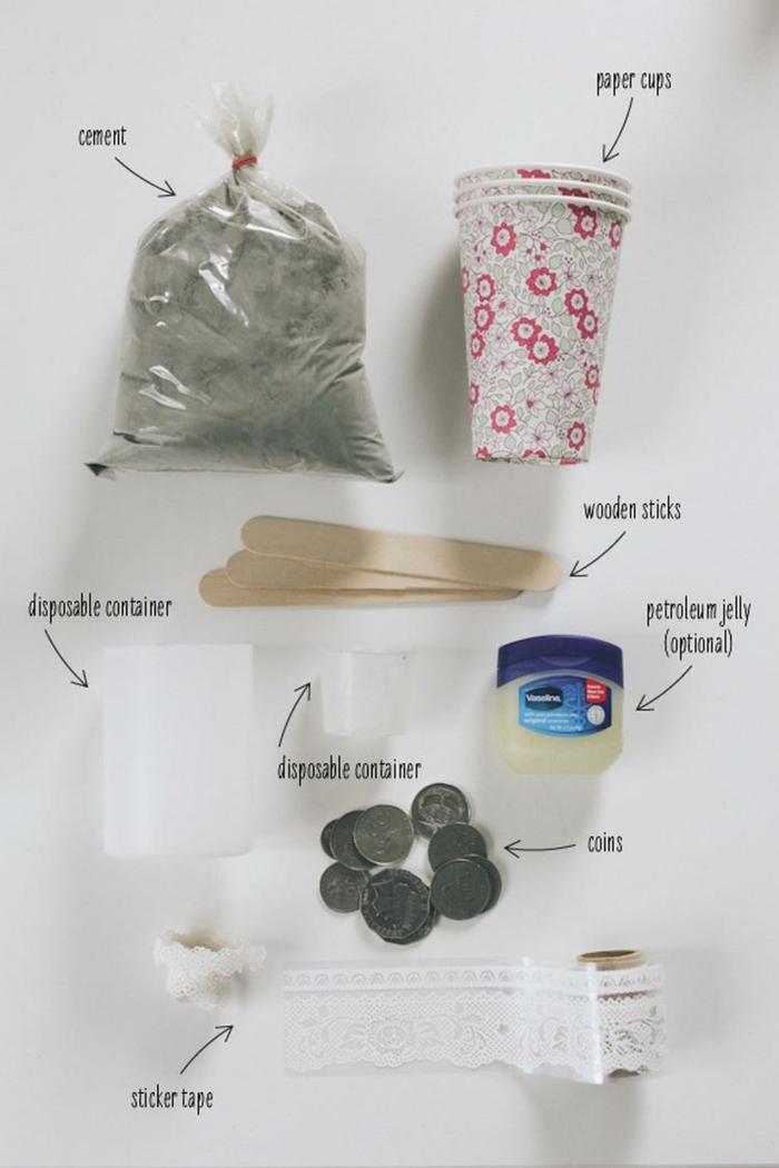 Bastelbedarf zum basteln von Kerzenhalter, Gefäße aus Beton selber machen. Becher aus Pappe