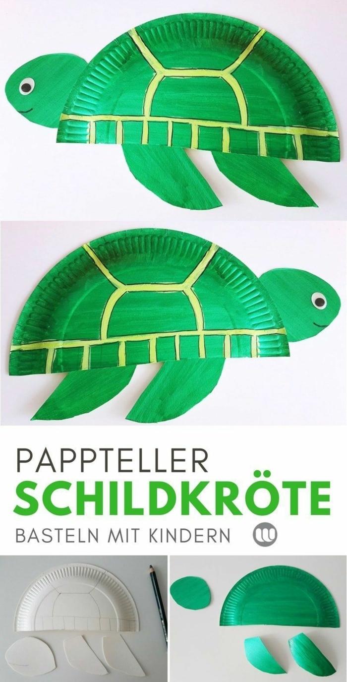 Bastelideen Schildkröte, Basteln mit Papptellern, DIY Anleitung für Kinder, Schritt für Schritt, Meerestiere basteln