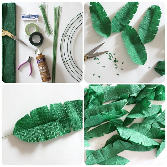 basteln mit krepppapier frühling, diy ideen, frühlingsdeko selber machen, kranz aus grünen blättern
