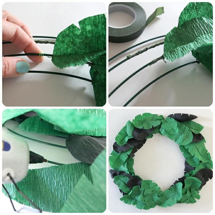 basteln mit krepppapier frühling, yi kranz mit shcwarzen und grünen papierblättern