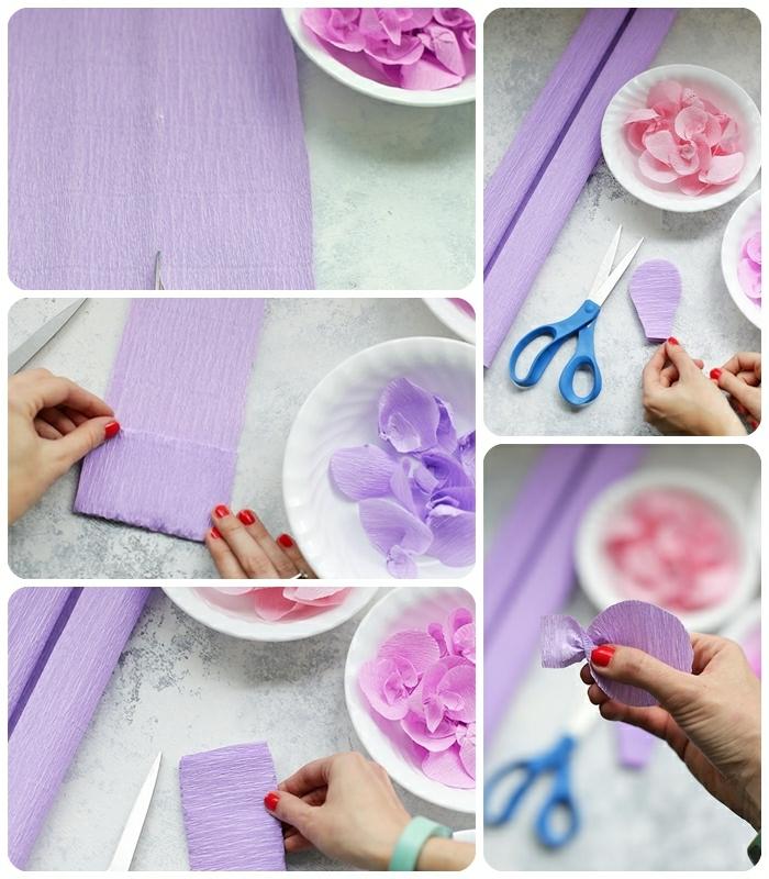 basteln mit krepppapier frühling, ombre mobile selbst machen, blüttenblätter aus papier anfertigen