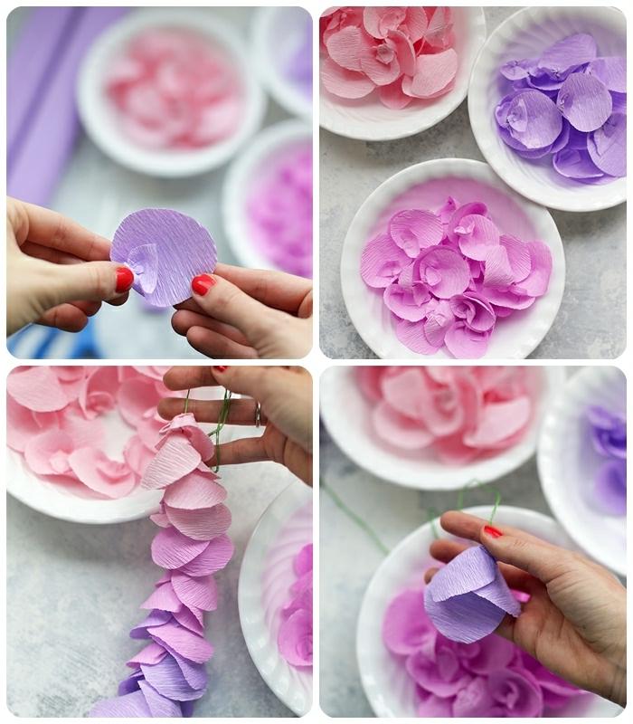 basteln mit krepppapier frühling, mnobile selber machen, blütenblätter aus rosa und lila papier