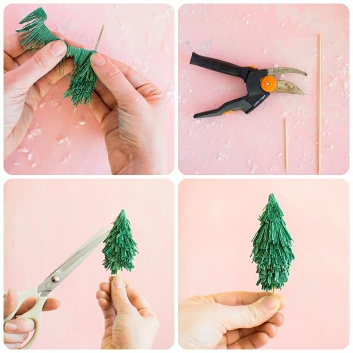 basteln mit krepppapier kleinkinder, tannenbäume selber machen, einfache anleitung