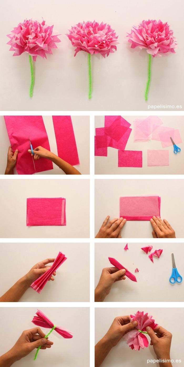 basteln mit papier blumen, rosa papierblumen, schritt für schritt anleitung