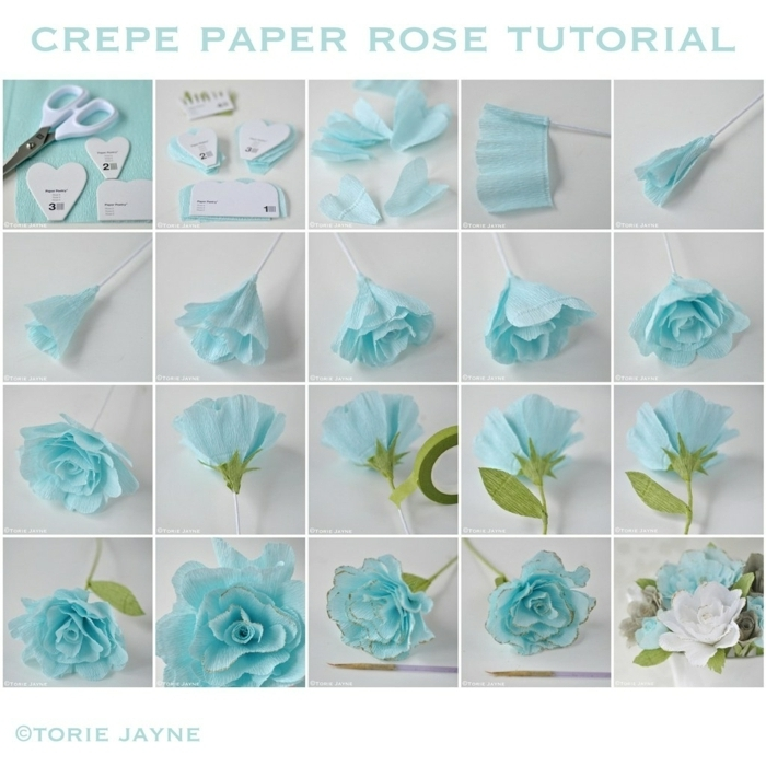 basteln mit papier blumen, blüte aus blauem papier, anletung in bildern